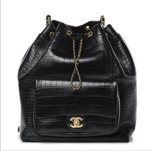 NEW CHANEL Backpack in Black Croc Leather